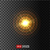 Light flash beams with lens flare effect of glittering sunlight or star light and sparkling rays. Twinkling starlight with radial gleaming solar burst. Vector isolated icon on transparent background poster