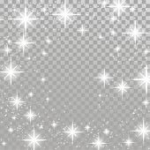 Bright star twinkle glow shimmering frame layout checkered background. Silver twinkling sparkling beautiful abstract overlay light effect template isolated. Vector illustration poster