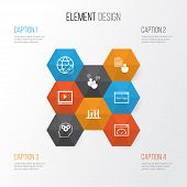 Advertising Icons Set. Collection Of Video Player, Website, Keyword Optimisation And Other Elements poster