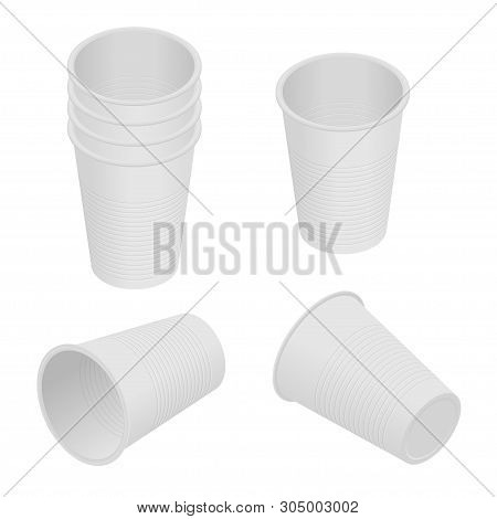 Isometric Plastic Cup. Empty White Plastic Disposable Cups. Takeaway Drink Containers Isolated, Plas