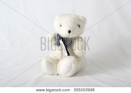 Cuddly stuffed teddy bear on a white neutral background poster