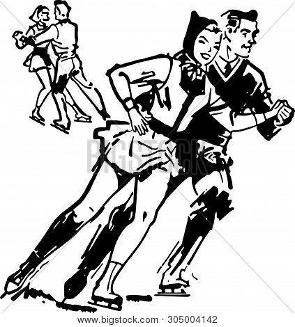 Ice Skating Couple - Retro Clip Art Illustration