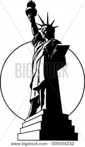 Statue Of Liberty - Retro Clip Art Illustration