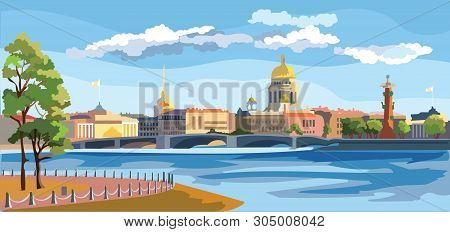 Cityscape Of Embankment And Bridge Across Neva River In St. Petersburg, Russia. View On Spit Of Vasi