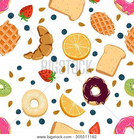 Seamless Vector Pattern With Kawaii Breakfast Things On White Background Perfect For Wrapping Paper