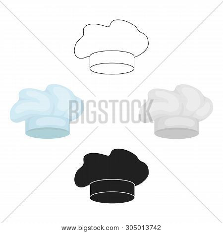 Chef S Hat Icon In Cartoon, Black Style Isolated On White Background. Hats Symbol Stock Vector Illus