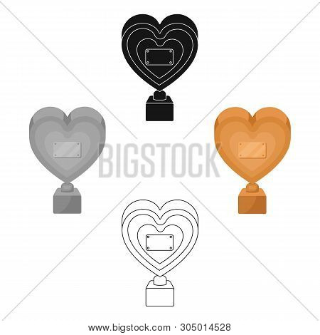 Bronze Heart In The Form Of Awards.the Audience Award For Best Film. Movie Awards Single Icon In Car
