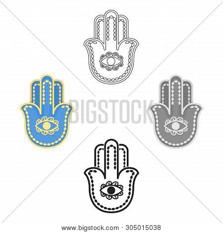 Hamsa Icon In Cartoon, Black Style Isolated On White Background. Religion Symbol Stock Vector Illust
