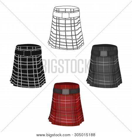 Kilt Icon In Cartoon, Black Style Isolated On White Background. Scotland Country Symbol Stock Vector