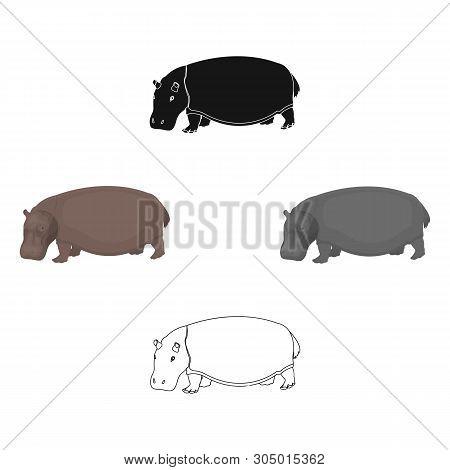 Hippopotamus, An Omnivorous Artiodactyl Animal. The African Great Hippopotamus Single Icon In Cartoo