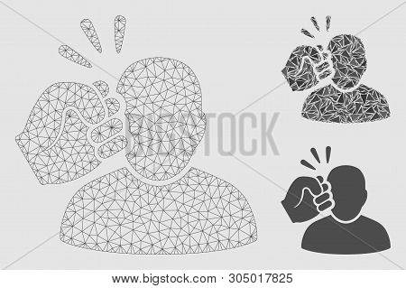 Mesh crime violation fist strike model with triangle mosaic icon. Wire frame triangular mesh of crime violation fist strike. Vector mosaic of triangle parts in different sizes and color tints. poster