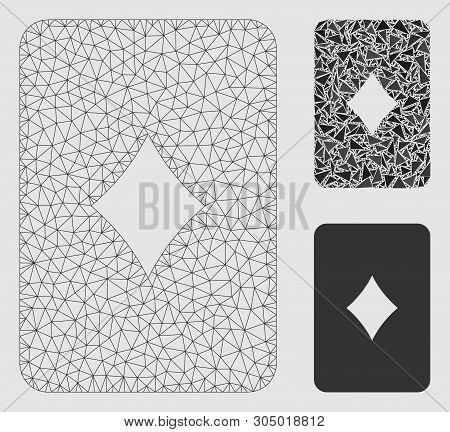 Mesh Diamonds Playing Card Model With Triangle Mosaic Icon. Wire Frame Polygonal Mesh Of Diamonds Pl