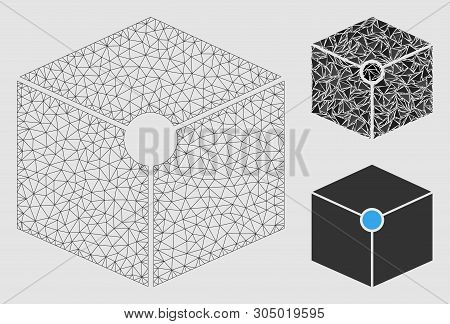Mesh Cube Vertex Model With Triangle Mosaic Icon. Wire Frame Triangular Mesh Of Cube Vertex. Vector