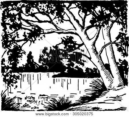 Beautiful Lake - Retro Clip Art Illustration For Scenery