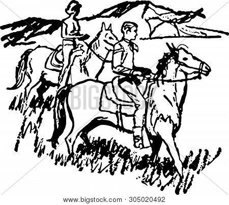 Couple Horseback Riding 3 - Retro Clip Art Illustration