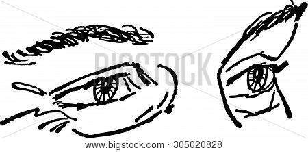 Pair Of Eyes - Retro Clip Art Illustration