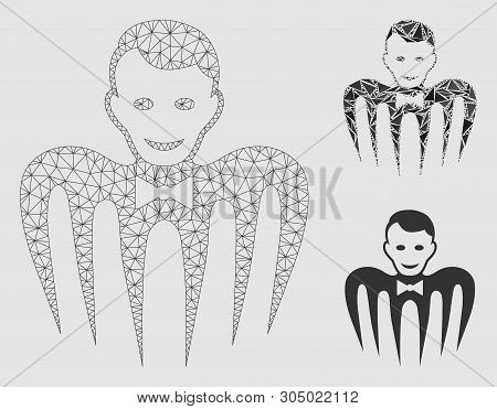 Mesh Croupier Monster Model With Triangle Mosaic Icon. Wire Frame Triangular Mesh Of Croupier Monste
