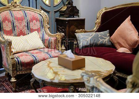 Luxury Velvet Sofa With Carpet In Living Room. Home Interior Design