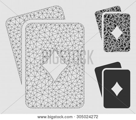 Mesh Diamonds Playing Cards Model With Triangle Mosaic Icon. Wire Carcass Triangular Mesh Of Diamond