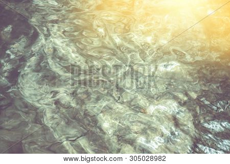 Abstract Water Background, Blurred Green Colour Stream Of Water