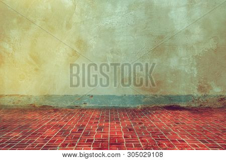 Grunge Texture Of Old Wall And Dirty  Floor Tile Background, Aged Room In Old House