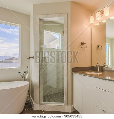 Frame Square Modern Bathroom Interior With Double Sink Vanity Glass Door Shower And Bathtub