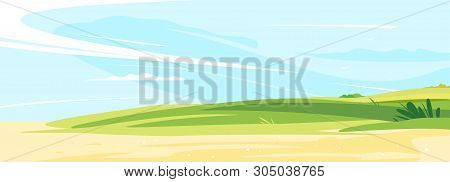 Green Lawn On A Sunny Day For Rest And Picnic Near The Sandy Shore With Blue Sky, Place For Summer H