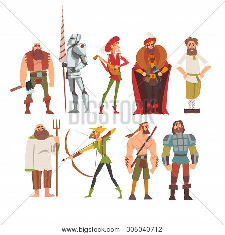 Medieval Historical Cartoon Characters In Traditional Costumes Set, Peasant, Warrior, Nobleman, Arch