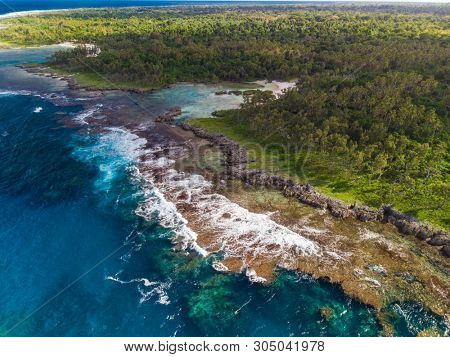 Drone view of The Blue Lagoon, Port Vila, Efate, Vanuatu - famous tourist destination