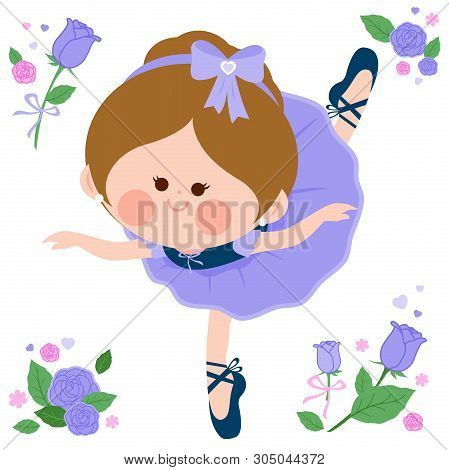 Vector Illustration Set Of A Cute Ballerina Dancer Girl In A Purple Ballet Outfit, Ribbons And Flowe