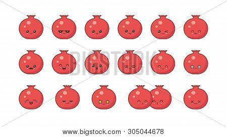 Garnet Cute Kawaii Mascot. Set Kawaii Food Faces Expressions Smile Emoticons.