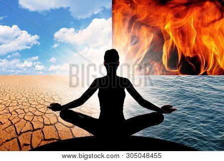 Concept Of Yoga And The Four Elements Of The Universe, Fire, Water, Earth, And Air. They Make Up All