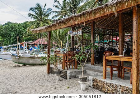 Bali, Indonesia - January 14, 2018: Small Cafe Warung