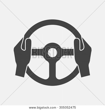 Vector Icon Of Car Steering Wheel And Drivers Hands. Layers Grouped For Easy Editing Illustration. F