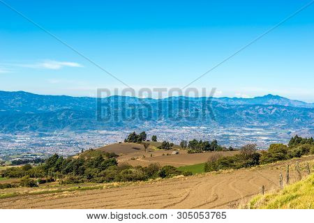 View At The Cartago Valley,fields And Meadows Near Road To Irazu Volcano National Park - Costa Rica