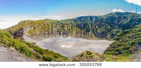 Panoramic View To The Crater Of Diego De La Haya At Irazu Volcano National Park - Costa Rica