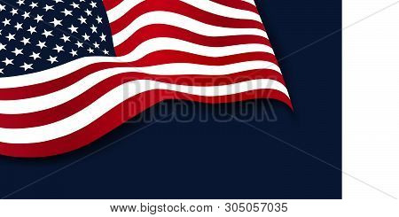 Waving American Flag Of The United States Of America Isolated On Navy Blue Background. 4th Of July.