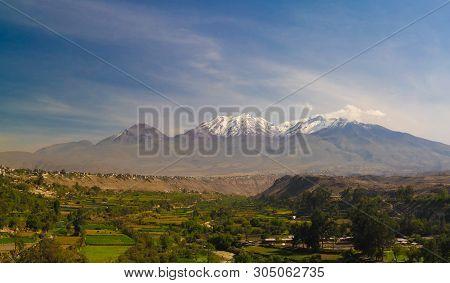 Panoramic View To Chachani Mountain And Arequipa City From Yanahuara Viewpoint In Arequipa, Peru