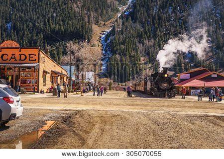 Silverton, Colorado, Usa - October 15, 2018 : Tourists Getting Around The Durango To Silverton Narro