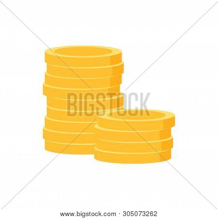 Pile Of Golden Coins Isolated Money. Vector Heap Of Gold, Finance And Investment Concept, Stack Of M