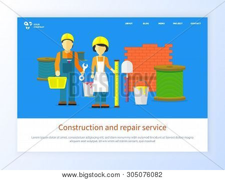 Construction And Repair Service, People Character With Tools. Workers Man And Woman With Equipment,