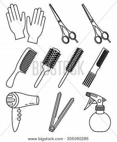 10 line art black and white hairdresser tools. Beauty salon equipment. Hair dresser themed vector illustration for icon, stamp, label, certificate, brochure, leaflet, poster or banner decoration poster