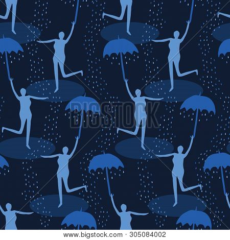 Female Figure Holding Open Umbrella. Singing In The Rain Seamless Vector Pattern. Woman Leaping Wate