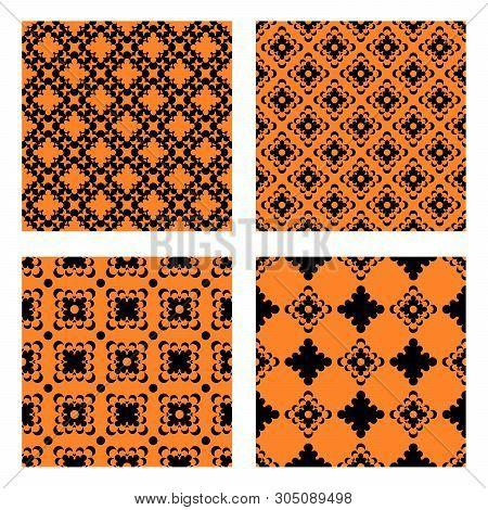 Set Of Simple Doily Seamless Vector Patterns. Monochromatic Pattern Elenemts On Black Background.