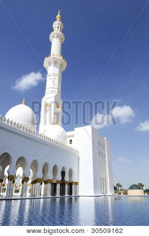 Abu Dhabi Sheikh Zayed famous White Mosque poster