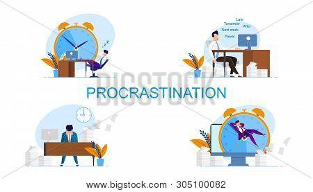 Illustration Inscription Set Procrastination. Man Feels Guilty Because Deadlines. Vector Worker Does