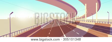 Empty Two-lane Speed Highway, Modern Freeway With Median Barrier, Overpass Or Bridge In Above Going