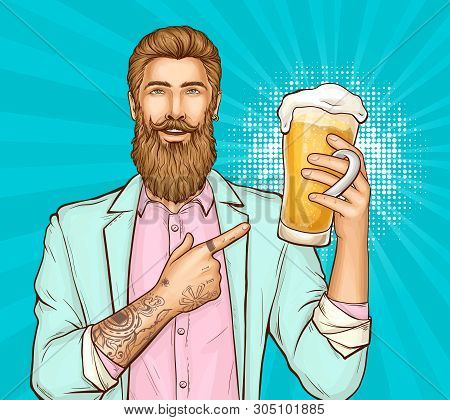 Happy Smiling Bearded, Tattooed Hipster Man In Pink Shirt And Turquoise Suit Pointing On Glass Full