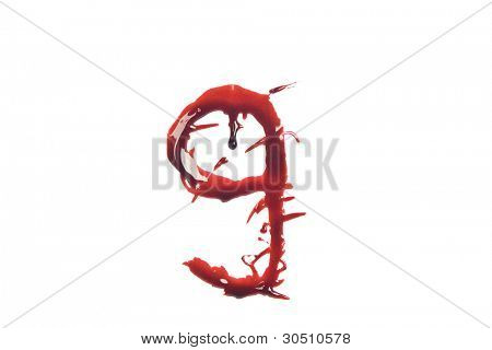 Dripping slashed blood fonts the letter lower case g