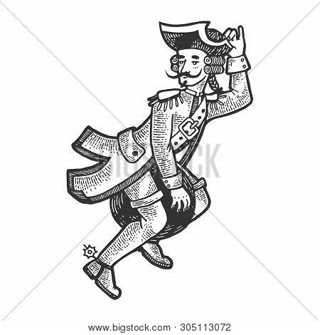 Baron Fairy Character Flies On Cannonball Sketch Engraving Vector Illustration. Scratch Board Style